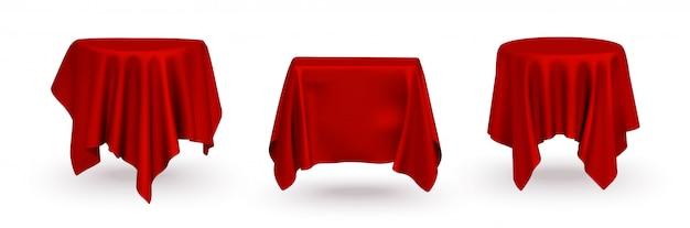 Набор реалистичной красной шелковой ткани скатерти для презентации продукта