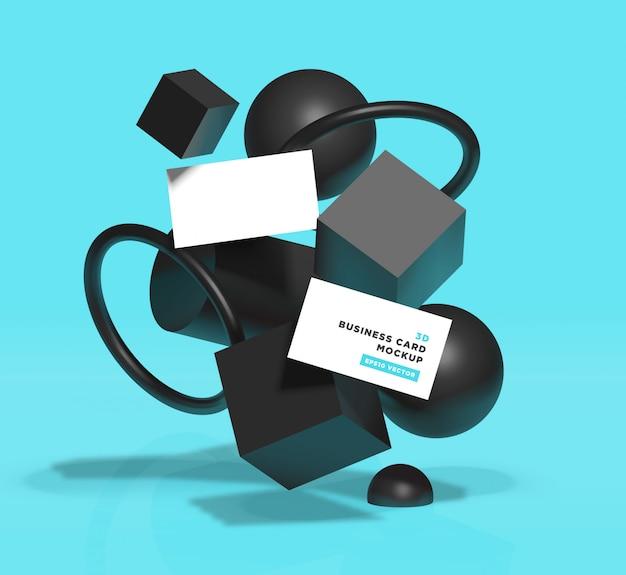 Реалистичный абстрактный черный геометрический с визитной карточкой