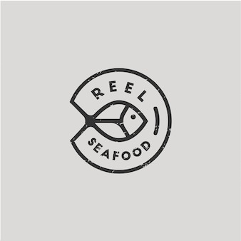 魚円形モノラインビンテージロゴ