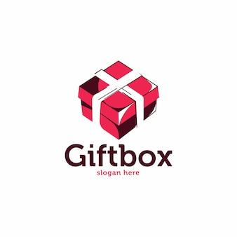 Подарочная коробка эскиз стиля логотип