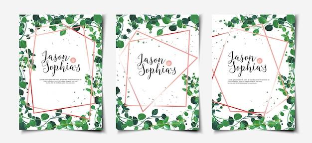 水彩葉結婚式招待状カードテンプレートセット
