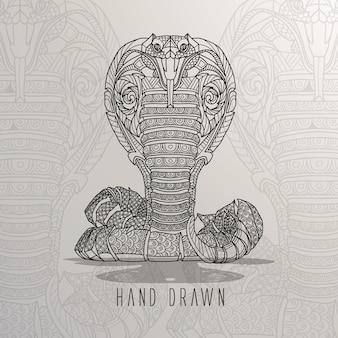 手描きのヘビ