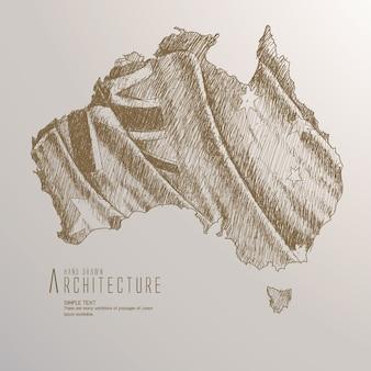 Нарисованная рукой карта австралии с развевающимся флагом.