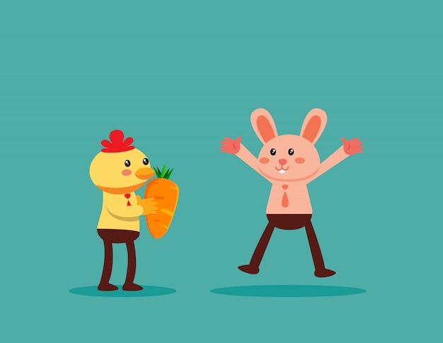 チキンがウサギにニンジンを与えます。ビジネスチームワークと同僚