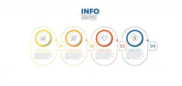 アイコンとオプションまたは手順を持つインフォグラフィック要素。
