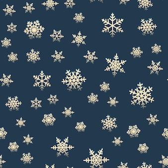 冬のクリスマス休暇のためのシームレスな雪片レトロパターン