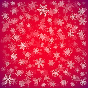 異なる雪の赤いクリスマス背景