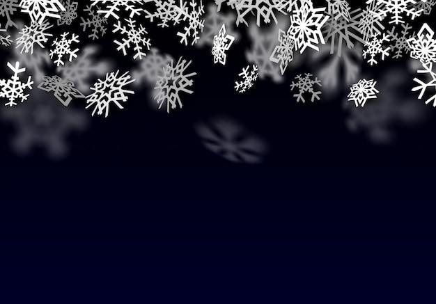 Снегопад фон. падающий прозрачный снег с большими снежинками