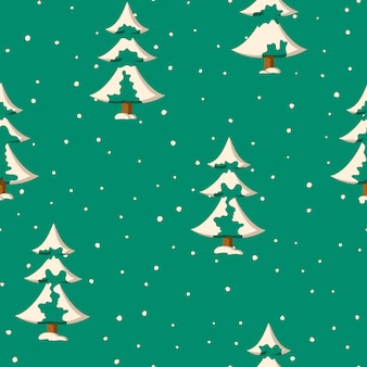フラット色の雪のモミの木とのシームレスなクリスマスのパターン