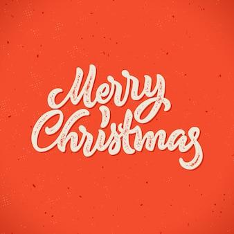 Счастливого рождества каллиграфические рисованной надписи карты с битник винтажный стиль печати для зимних праздников