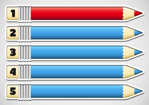 番号付きの鉛筆とインフォグラフィック