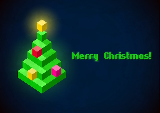 クリスマスツリーのレトロなデジタルカード