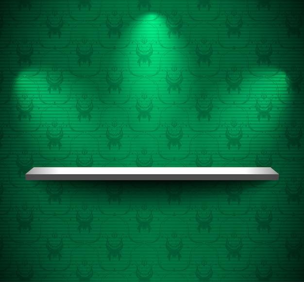 Полка на зеленой стене