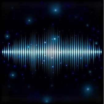 ぼやけた空間で神秘的な光沢のあるサウンドサイン