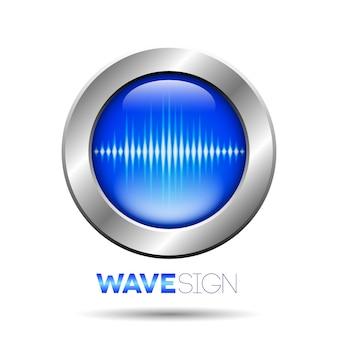 音波サイン付きの銀色のボタン