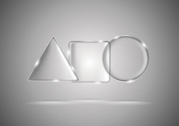 ガラスの幾何学的な三角形、正方形、円