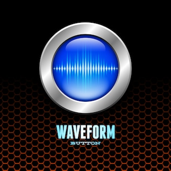 Серебряная кнопка со знаком звуковой волны