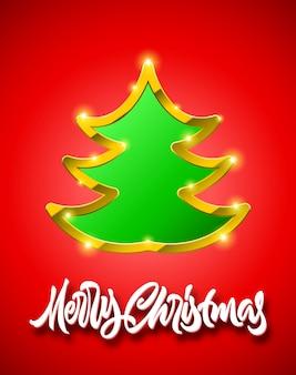 手描きの書道のレタリングと黄金の境界線、影と輝きと緑のモミの木記号とメリークリスマスの赤いカード