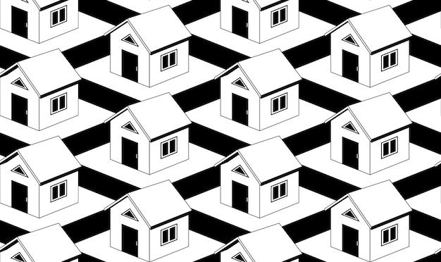 住宅とモノクロのシームレスパターン