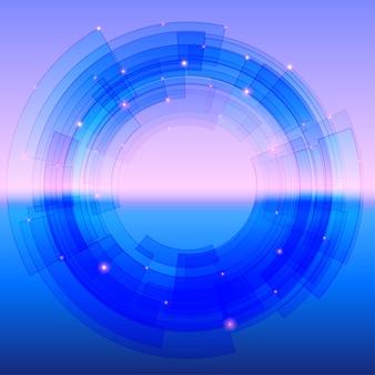 Ретро-футуристический фон с синим сегментированным кругом