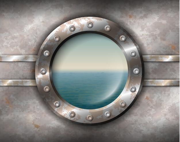 Ржавый иллюминатор с морской пейзаж