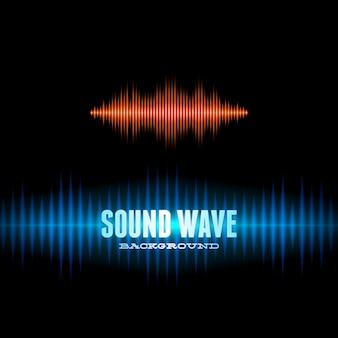 青とオレンジ色の光沢のあるサウンド波形の背景