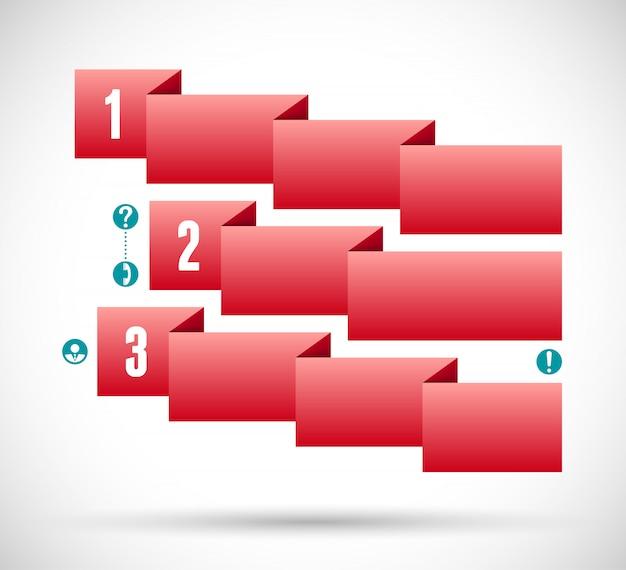Инфографика с красной лентой шаг диаграммы