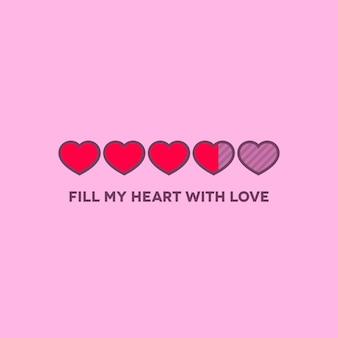 Строка состояния дня святого валентина с плоскими сердцами
