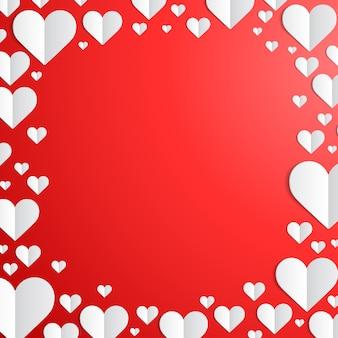 День святого валентина рамка с вырезанными бумажными сердечками