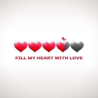 Строка состояния дня святого валентина с сердечками