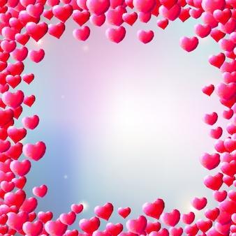 День святого валентина фон с разбросанными драгоценными сердцами