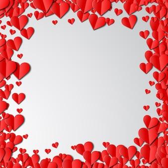 カット紙の心とバレンタインの日カード