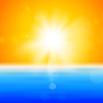 Фон с блестящим солнцем над морем