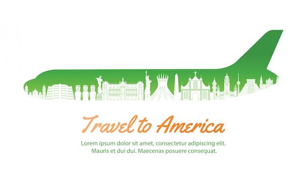Ориентир америка внутри с формой самолета, концепт-арт