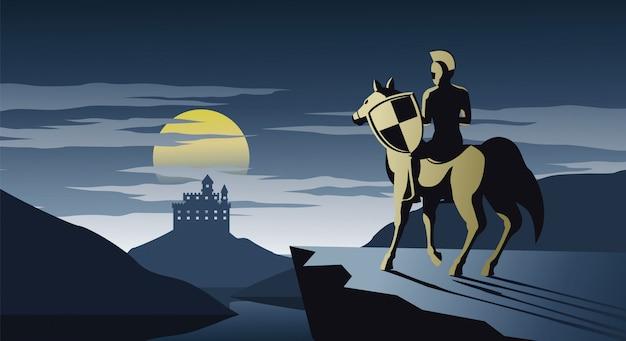 乗馬の騎士は崖の上に立つ