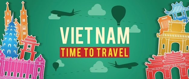 ベトナムの有名なランドマークシルエットのバナー