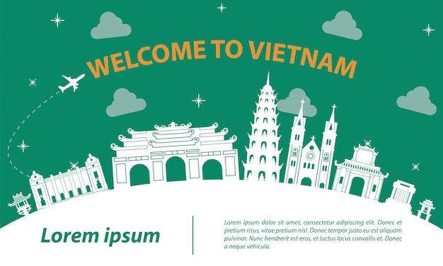 Знаменитая достопримечательность вьетнама силуэт дизайн