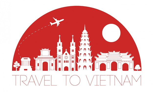 Вьетнам знаменитая достопримечательность силуэт дизайн