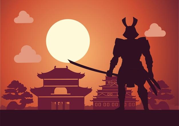 サムライという日本の騎士が城の前でポーズ
