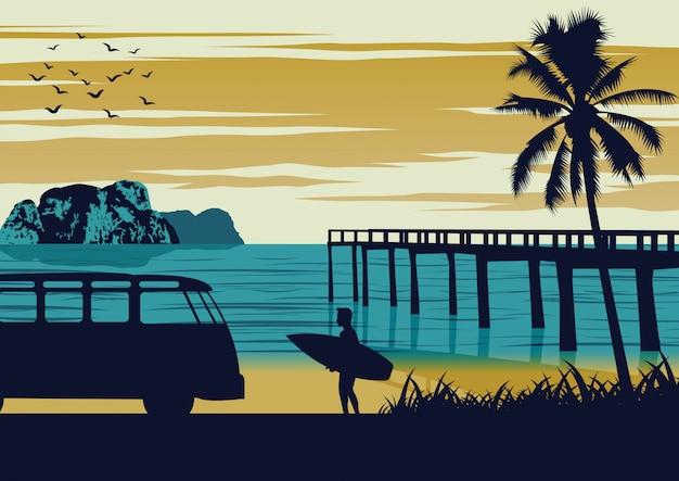 Природа сцены моря летом, мужчина держит доску для серфинга возле пляжа и деревянный порт, винтажный дизайн цвета