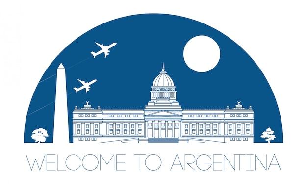 アルゼンチンの有名なランドマークのシルエット