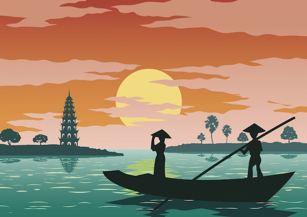 Женщина стоит в лодке, чтобы пойти уважать