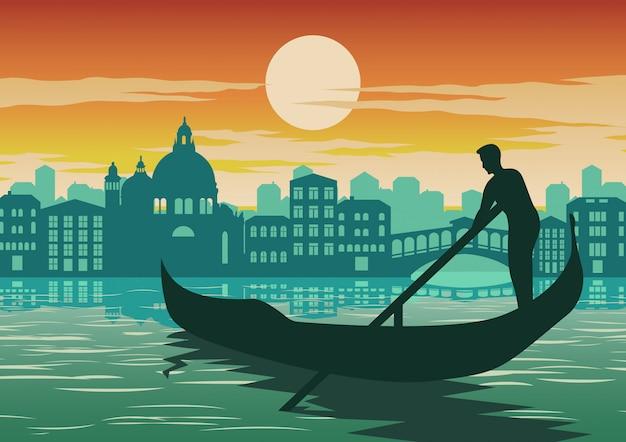 ヴェネツィア、イタリアの有名なランドマークの男の行ボート