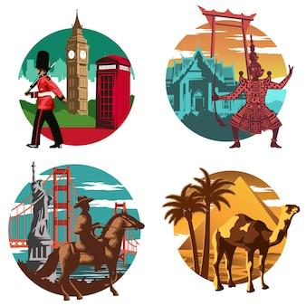 タイ、イングランド、エジプト、アメリカの有名なランドマークとシンボル