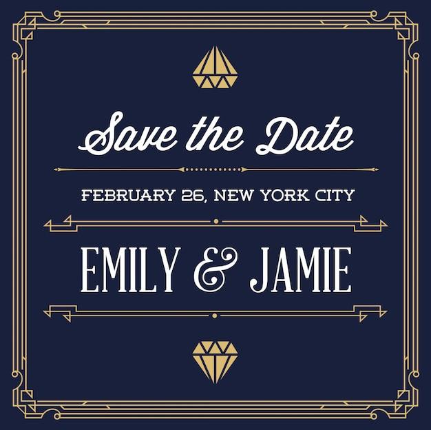 結婚式のためのビンテージスタイルの招待状は、アールデコやヌーボーギャングスター時代の一日を保存します。