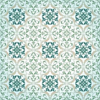 シームレスなダマスク織の背景パターンデザインとベクトルのトルコのテクスチャセラミックタイルで作られた壁紙