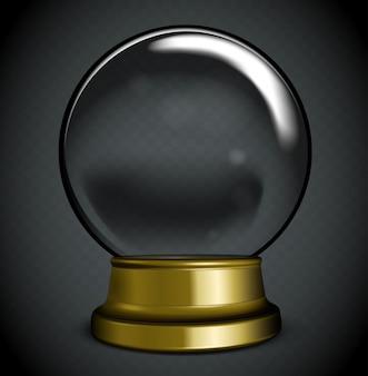 Белый прозрачный стеклянный шар на подставке с бликами и бликами.