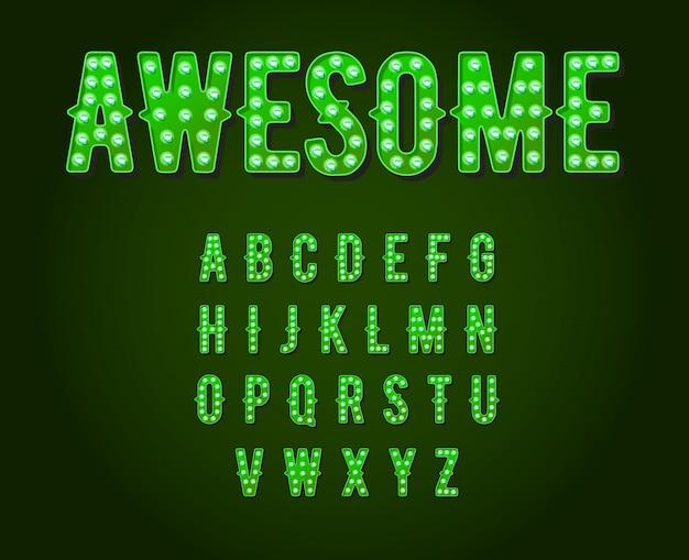 緑のネオンカジノまたはブロードウェイスタイルの電球アルファベット