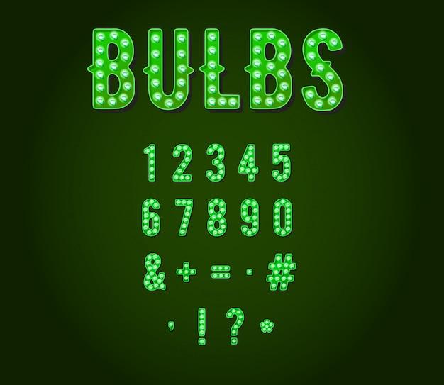 緑のネオンカジノまたはブロードウェイスタイルの電球の数字または数字