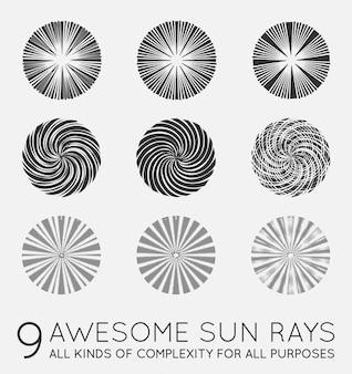 太陽のサンバーストベクトル光線のセット